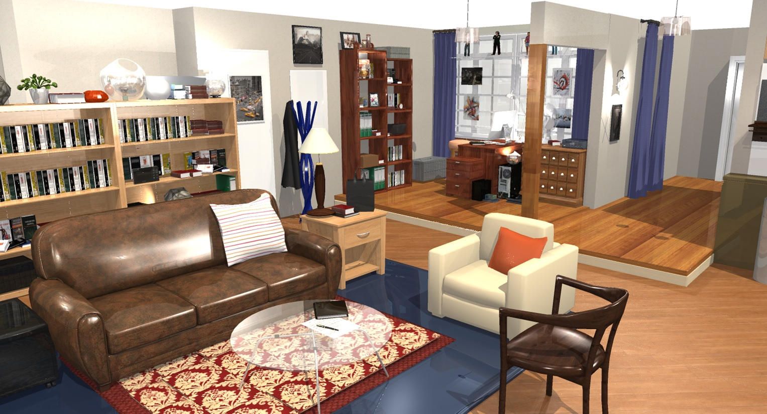 The big bang theory apartment in 3d homebyme for Klaus k living room