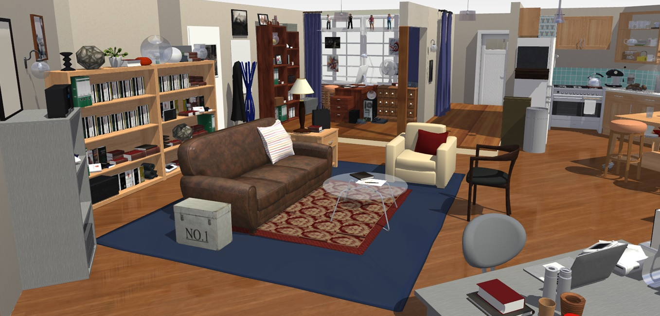 The big bang theory apartment in 3d homebyme for One big room apartment